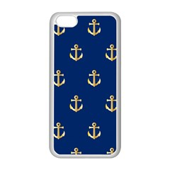 Gold Anchors On Blue Background Pattern Apple Iphone 5c Seamless Case (white) by Simbadda