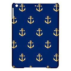 Gold Anchors On Blue Background Pattern Ipad Air Hardshell Cases by Simbadda