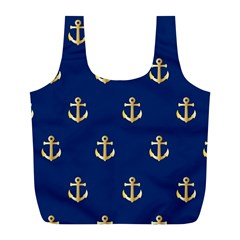 Gold Anchors On Blue Background Pattern Full Print Recycle Bags (l)  by Simbadda