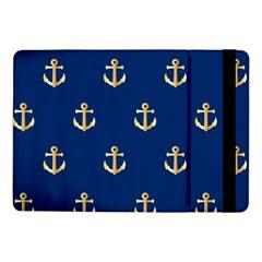Gold Anchors On Blue Background Pattern Samsung Galaxy Tab Pro 10 1  Flip Case by Simbadda