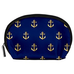 Gold Anchors On Blue Background Pattern Accessory Pouches (large)  by Simbadda