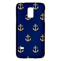 Gold Anchors On Blue Background Pattern Galaxy S5 Mini by Simbadda