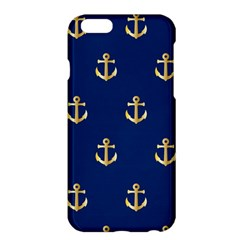 Gold Anchors On Blue Background Pattern Apple Iphone 6 Plus/6s Plus Hardshell Case by Simbadda
