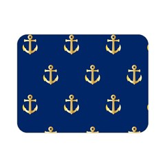 Gold Anchors On Blue Background Pattern Double Sided Flano Blanket (mini)  by Simbadda