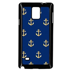 Gold Anchors On Blue Background Pattern Samsung Galaxy Note 4 Case (black) by Simbadda