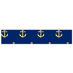 Gold Anchors On Blue Background Pattern Flano Scarf (small) by Simbadda