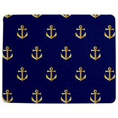 Gold Anchors On Blue Background Pattern Jigsaw Puzzle Photo Stand (rectangular) by Simbadda
