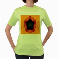 Fractal Flower Women s Green T-Shirt