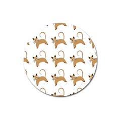 Cute Cats Seamless Wallpaper Background Pattern Magnet 3  (round) by Simbadda
