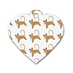 Cute Cats Seamless Wallpaper Background Pattern Dog Tag Heart (two Sides) by Simbadda