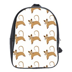 Cute Cats Seamless Wallpaper Background Pattern School Bags(large)  by Simbadda