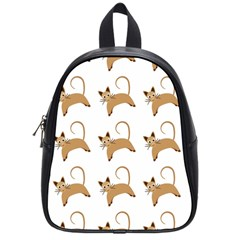 Cute Cats Seamless Wallpaper Background Pattern School Bags (small)  by Simbadda