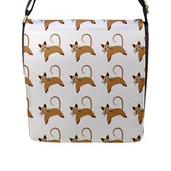 Cute Cats Seamless Wallpaper Background Pattern Flap Messenger Bag (l)  by Simbadda