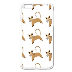 Cute Cats Seamless Wallpaper Background Pattern Apple Iphone 6 Plus/6s Plus Enamel White Case by Simbadda