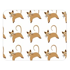Cute Cats Seamless Wallpaper Background Pattern Double Sided Flano Blanket (large)  by Simbadda