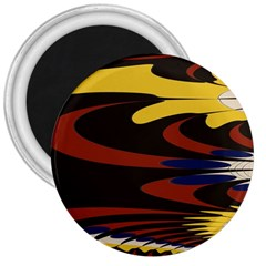 Peacock Abstract Fractal 3  Magnets by Simbadda