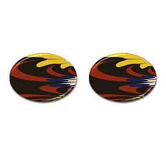 Peacock Abstract Fractal Cufflinks (oval) by Simbadda