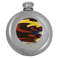 Peacock Abstract Fractal Round Hip Flask (5 Oz) by Simbadda