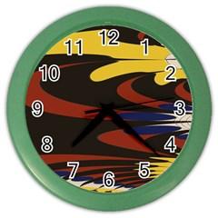 Peacock Abstract Fractal Color Wall Clocks by Simbadda