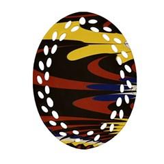 Peacock Abstract Fractal Oval Filigree Ornament (two Sides) by Simbadda