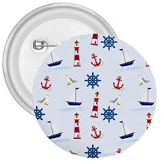 Seaside Nautical Themed Pattern Seamless Wallpaper Background 3  Buttons by Simbadda