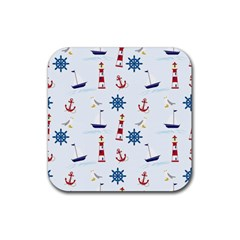 Seaside Nautical Themed Pattern Seamless Wallpaper Background Rubber Square Coaster (4 Pack)  by Simbadda