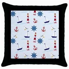 Seaside Nautical Themed Pattern Seamless Wallpaper Background Throw Pillow Case (black) by Simbadda