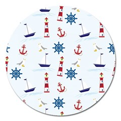 Seaside Nautical Themed Pattern Seamless Wallpaper Background Magnet 5  (round) by Simbadda