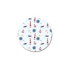 Seaside Nautical Themed Pattern Seamless Wallpaper Background Golf Ball Marker by Simbadda