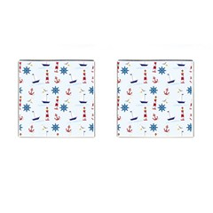 Seaside Nautical Themed Pattern Seamless Wallpaper Background Cufflinks (square) by Simbadda