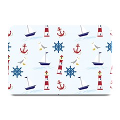 Seaside Nautical Themed Pattern Seamless Wallpaper Background Plate Mats by Simbadda