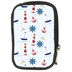 Seaside Nautical Themed Pattern Seamless Wallpaper Background Compact Camera Cases by Simbadda
