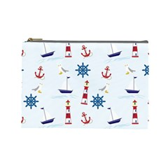 Seaside Nautical Themed Pattern Seamless Wallpaper Background Cosmetic Bag (large)  by Simbadda