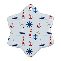 Seaside Nautical Themed Pattern Seamless Wallpaper Background Snowflake Ornament (two Sides) by Simbadda