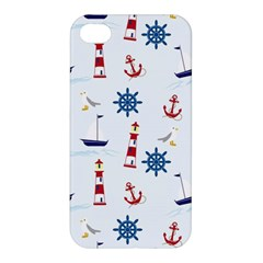 Seaside Nautical Themed Pattern Seamless Wallpaper Background Apple Iphone 4/4s Premium Hardshell Case by Simbadda