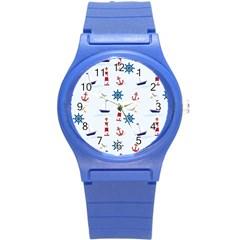 Seaside Nautical Themed Pattern Seamless Wallpaper Background Round Plastic Sport Watch (s) by Simbadda