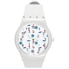 Seaside Nautical Themed Pattern Seamless Wallpaper Background Round Plastic Sport Watch (m) by Simbadda