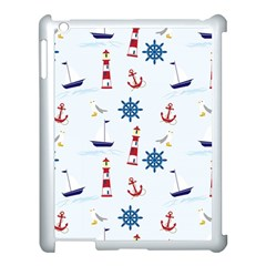 Seaside Nautical Themed Pattern Seamless Wallpaper Background Apple Ipad 3/4 Case (white) by Simbadda