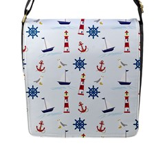 Seaside Nautical Themed Pattern Seamless Wallpaper Background Flap Messenger Bag (l)  by Simbadda