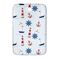 Seaside Nautical Themed Pattern Seamless Wallpaper Background Samsung Galaxy Note 8 0 N5100 Hardshell Case  by Simbadda