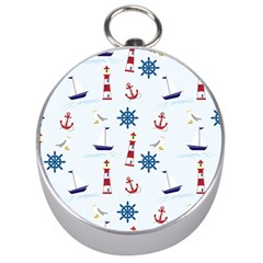 Seaside Nautical Themed Pattern Seamless Wallpaper Background Silver Compasses by Simbadda