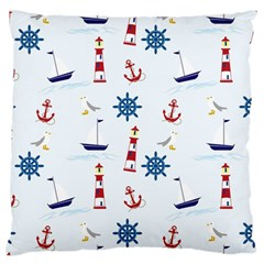 Seaside Nautical Themed Pattern Seamless Wallpaper Background Large Flano Cushion Case (two Sides) by Simbadda