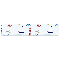 Seaside Nautical Themed Pattern Seamless Wallpaper Background Flano Scarf (small) by Simbadda