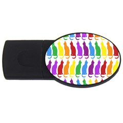 Rainbow Colorful Cats Wallpaper Pattern Usb Flash Drive Oval (2 Gb) by Simbadda