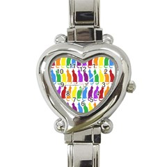 Rainbow Colorful Cats Wallpaper Pattern Heart Italian Charm Watch by Simbadda