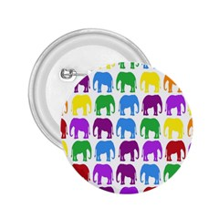 Rainbow Colors Bright Colorful Elephants Wallpaper Background 2 25  Buttons by Simbadda