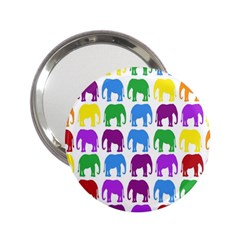 Rainbow Colors Bright Colorful Elephants Wallpaper Background 2 25  Handbag Mirrors