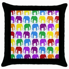 Rainbow Colors Bright Colorful Elephants Wallpaper Background Throw Pillow Case (black) by Simbadda