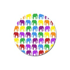 Rainbow Colors Bright Colorful Elephants Wallpaper Background Magnet 3  (round) by Simbadda