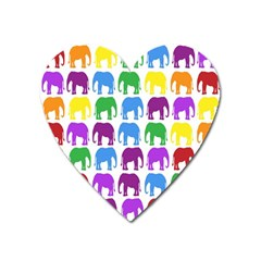 Rainbow Colors Bright Colorful Elephants Wallpaper Background Heart Magnet by Simbadda